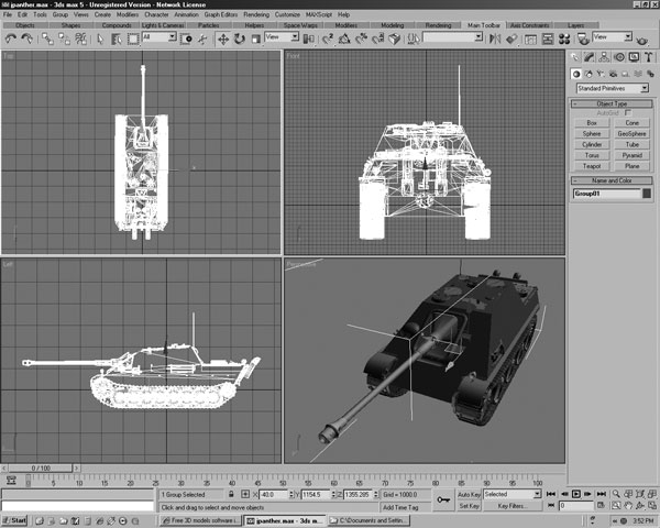Panther military tank model 3ds 3d studio software for 3d studio max models